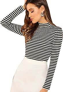 Women's High Neck Slim Fit Party Leopard Print Long Sleeve Top Shirt