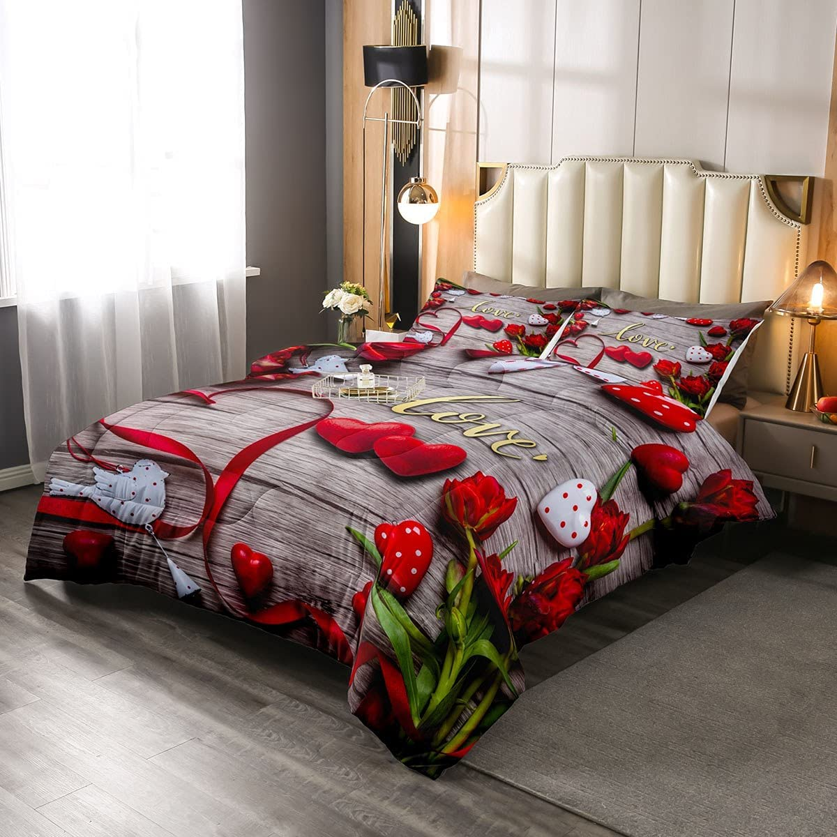 Erosebridal Red Floral Comforter Set Rustic Bedding Style Popular brand in the world S National products Chic