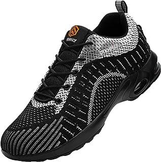 Fenlern Scarpe Antinfortunistiche Uomo Cuscino Leggere Traspiranti Scarpe da Lavoro con Punta in Acciaio Sportive Sneakers