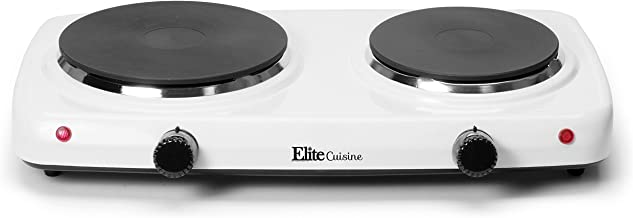 Maxi-Matic EDB-302F Countertop Double Electric Hot Plate Burner Dual Temperature Controls, Power Indicator Lights, Easy To Clean, 1500 Watts, White