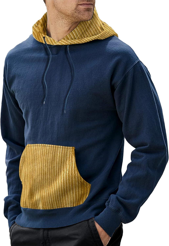 Bbalizko Mens Fashion Color Block Hoodies Patchwork Long Sleeves Drawstring Hooded Sweatshirt Pullover
