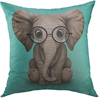 Mugod Decorative Throw Pillow Cover for Couch Sofa,Glassesnerdy Nerdy Baby Elephant Wearing Nerd Home Decor Pillow case 18x18 Inch