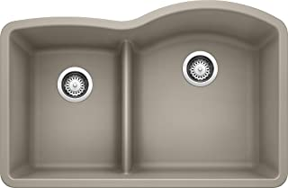 Blanco 441608 Diamond 1.75 Low Divide Under Mount Reverse Kitchen, Large, Truffle