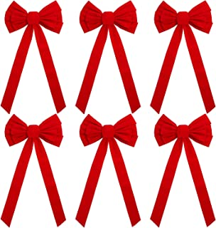 URATOT 6 Pack 26 Inches Red Velvet Bow Christmas Holiday Bows with 12 Loop Christmas Wreaths Decoration, 10 x 26 Inches(6, 10 x 26 Inches)