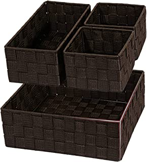 Posprica Woven Storage Drawer Closet Dresser Organizer Bins Basket for Nursery, Office, Home Décor, Shelf Cabinet, Set of 4,Brown (Renewed)