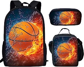 UNICEU Lightweight Laptop Backpack Fire and Water Basketball Ball Printed School Bookbag Lunch Bag Pencil Case
