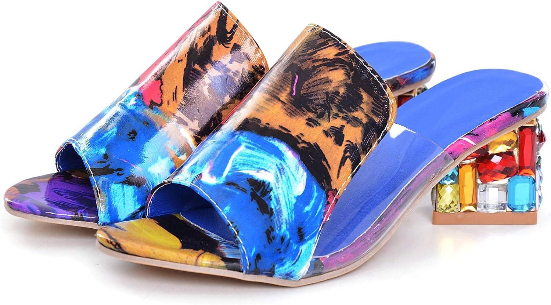 VFDB Women's Peep Toe Mid Block Heel Summer Slide Sandals,Slip On Casual Transparent Sandals Slippers PVC Sandals