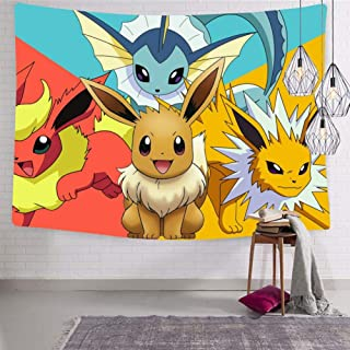 Tapestry Eev-ee Pika-chu Poke-mon Evolution Tapestries Wall Tapestry Hanging Tapestry for Living Room Bedroom Dorm Decor in 70.9