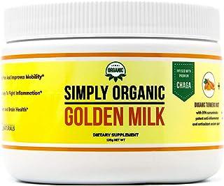 Simply Organic Golden Milk Dietary Supplement - Antioxidant - Non-GMO, Vegan - Turmeric & Chaga - Immune System Support (1)