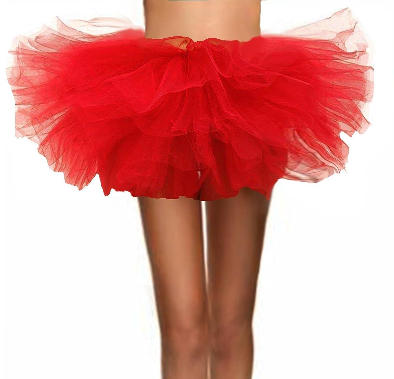 T-Crossworld Women's Classic 6 Layered Puffy Mini Tulle Tutu Bubble Ballet Skirt