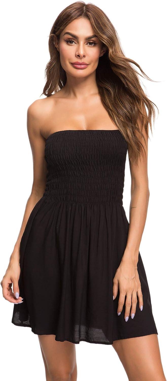 Honeyuppy Tube Top Dresses for Women's Summer Sexy Strapless Swing Beach Mini Dress