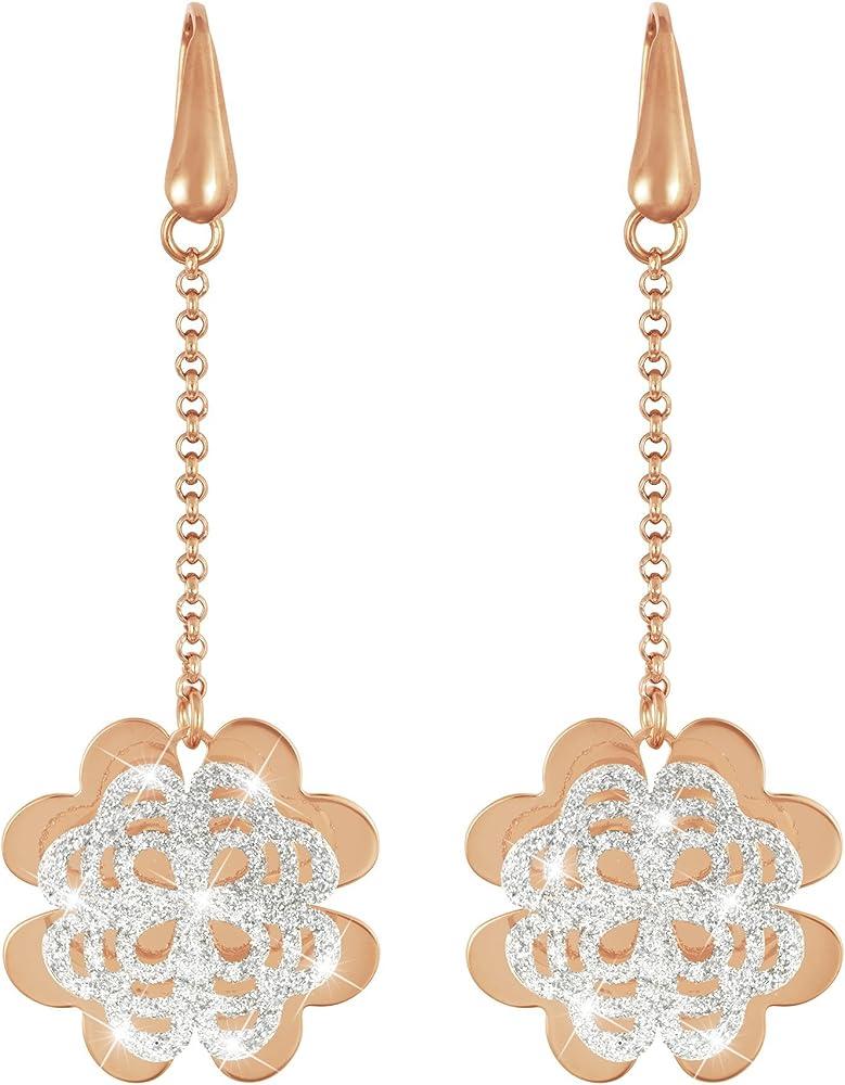 Stroili  orecchini per donna quadrifoglio in ottone rosato e glitter 1650701