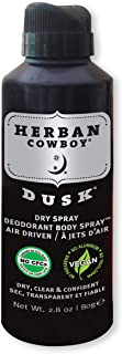 HERBAN COWBOY Dry Spray Deodorant Dusk – 2.8 oz   Men's Dry Spray Deodorant   Enhanced with Parsley, Rosemary & Sage   No Parabens, No Phthalates & Certified Vegan