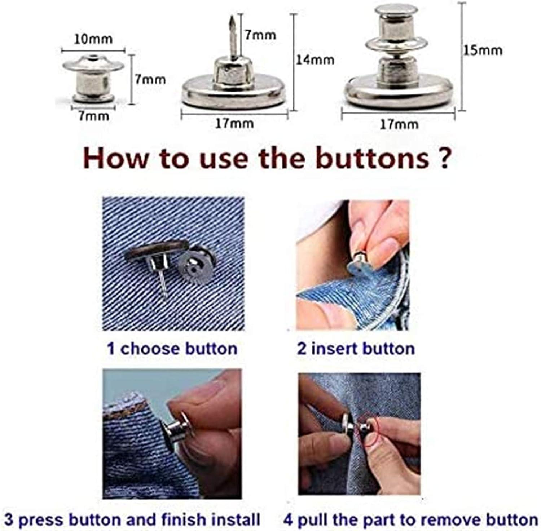 8pcs Replacement Jean Buttons No Sew Instant Button Adjustable Jeans Button Instant Perfect Fit Button 8 Count C Adjustable Button Pin for Jeans 8 Pcs Perfect Fit Instant Button