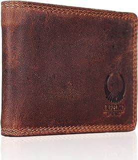 Corno d'Oro monedero de piel para hombre CD573, bolsillo pequeño con protección RFID, billetera vintage marrón