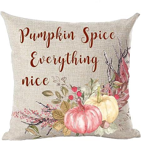 PUMPKIN SPICE AND EVERYTHING NICE Fall Pillow Cover Pumpkins Cotton Linen ~ USA