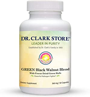 Dr Clark Green Black Walnut Blend - Freeze Dried Hull Dietary Supplement, Extra Strength Formula from All Natural Walnuts,...