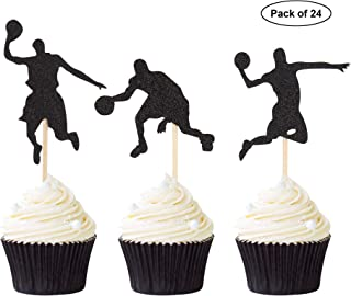 24PCS Basketball Player Cupcake Toppers NBA Star Cake Toppers Sport Theme Party Decor Supplies