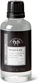 Milagu Black Beard Oil Conditioner- All Natural with Infused Argan & Jojoba Oils - Promotes Beard Growth - Softens & Strengthens Beards and Mustaches for Men