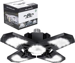 Luces LED para garajes, 120 W, 12000 lm, lámpara de techo flexible para garaje, con 4 paneles ajustables, E27 6000 K, iluminación de garaje para tienda, almacén, granero, sótano, corredor (1 unidad)