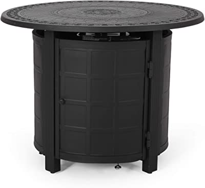Christopher Knight Home 312971 Richie Outdoor Round Aluminum Fire Pit, Matte Black