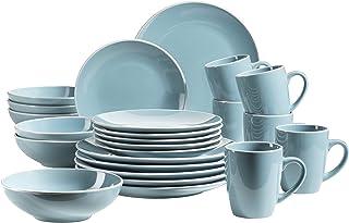 MÄSER 931770 Serie Elissa Moderne pour 6 Personnes en Turquoise avec Bordure Blanche-Service de Table 24 pièces