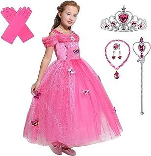 زي الأميرة التنكري للفتيات من ليتو انجلز، فستان فاخر لعيد الميلاد والهالوين مع اكسسواراته زهري فاقع 7-8