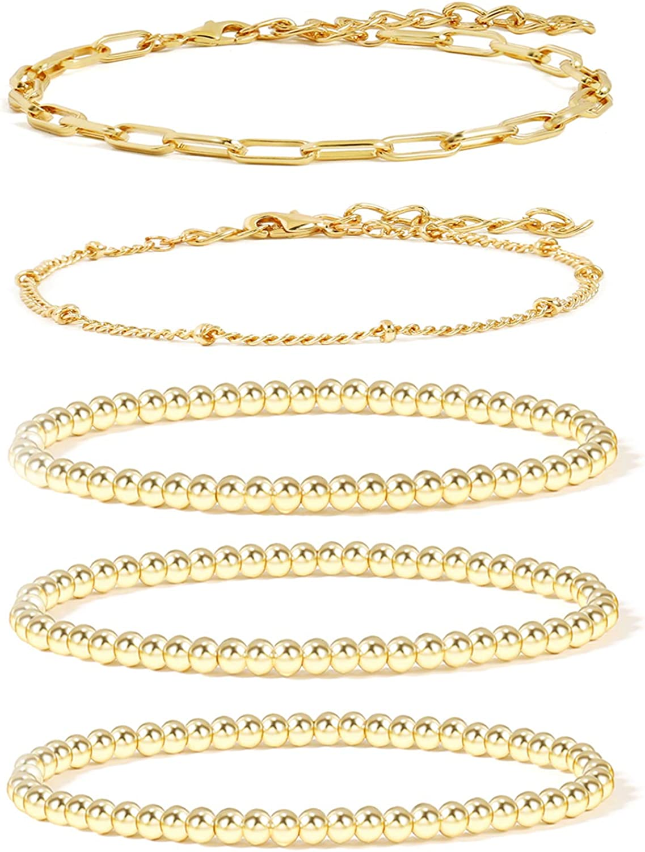 14K Gold Beaded Bracelets for Women,Dainty Gold Plated Chain Link Bracelet Stretchable Adjustable Bracelet……