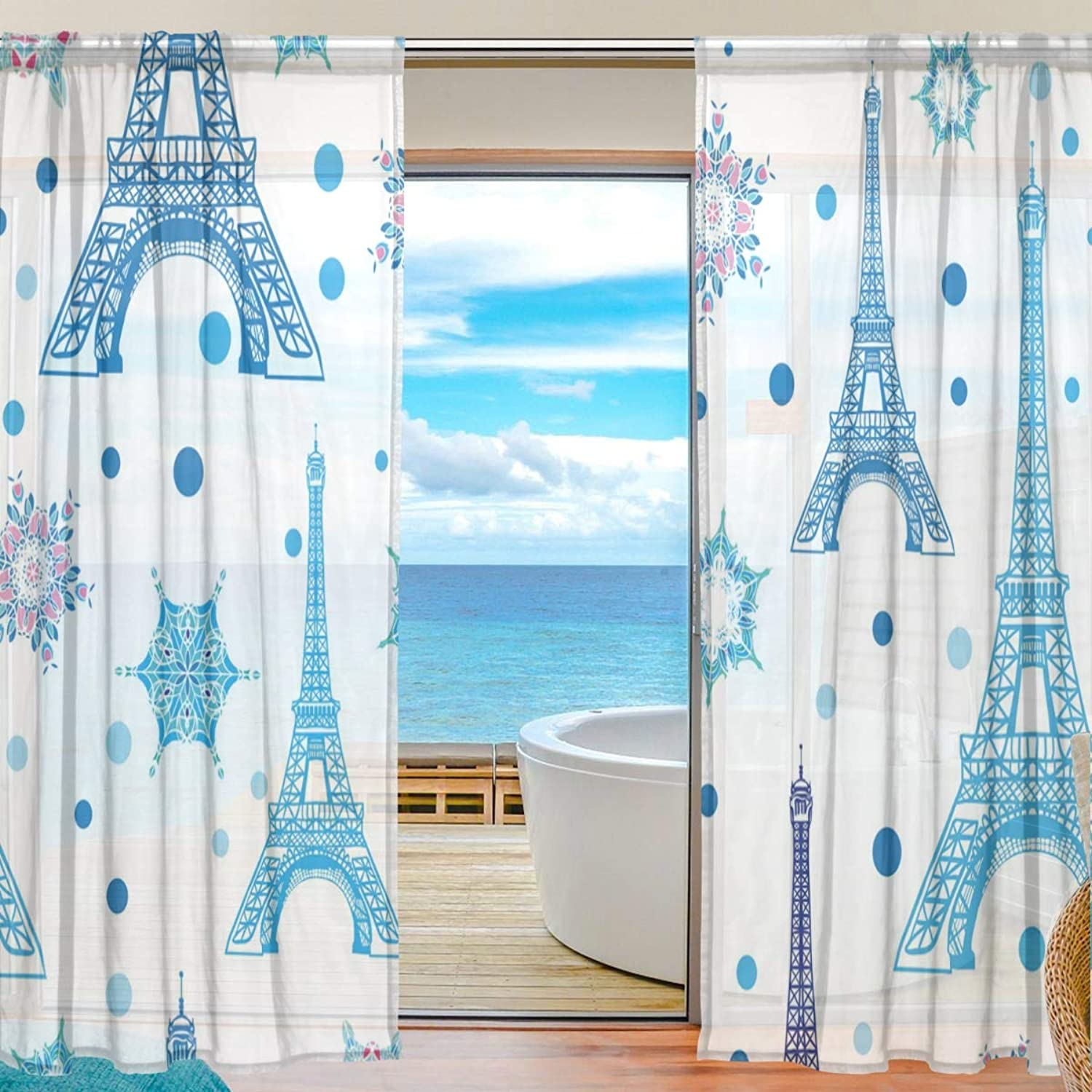 Christmas Eiffel Tower 2 Pieces Curtain Panel 55 x 78 inches for Bedroom Living Room