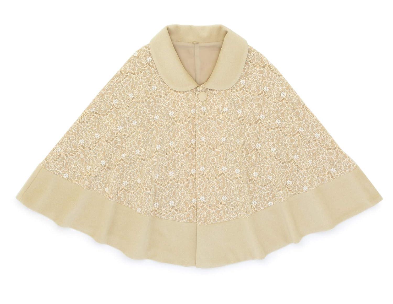 (ソウビエン) ケープコート ポンチョ 薄茶色 花 レース 丸襟 アンゴラ シャルム加工 女性 日本製