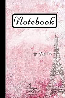 Notebook: Paris Eiffel Tower Notebook, Pink Art Design, 6X9