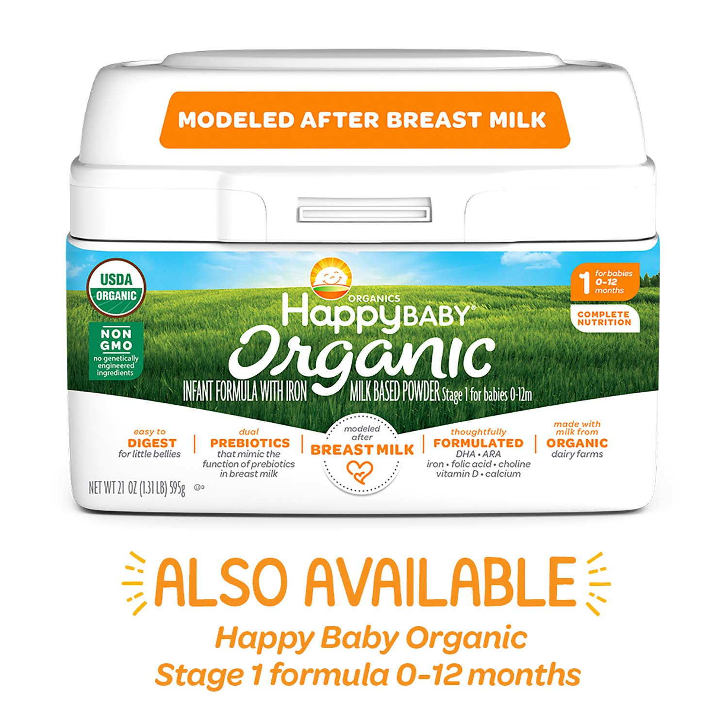 Happy Baby Organics Infant Formula, Milk Based Powder with Iron Stage 2, 21 Ounce (Pack of 1) packaging may vary
