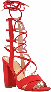 Women's Strappy Lace Up Sandal Chunky Block High Heel - Formal, Wedding, Party Simple Classic Silhouette