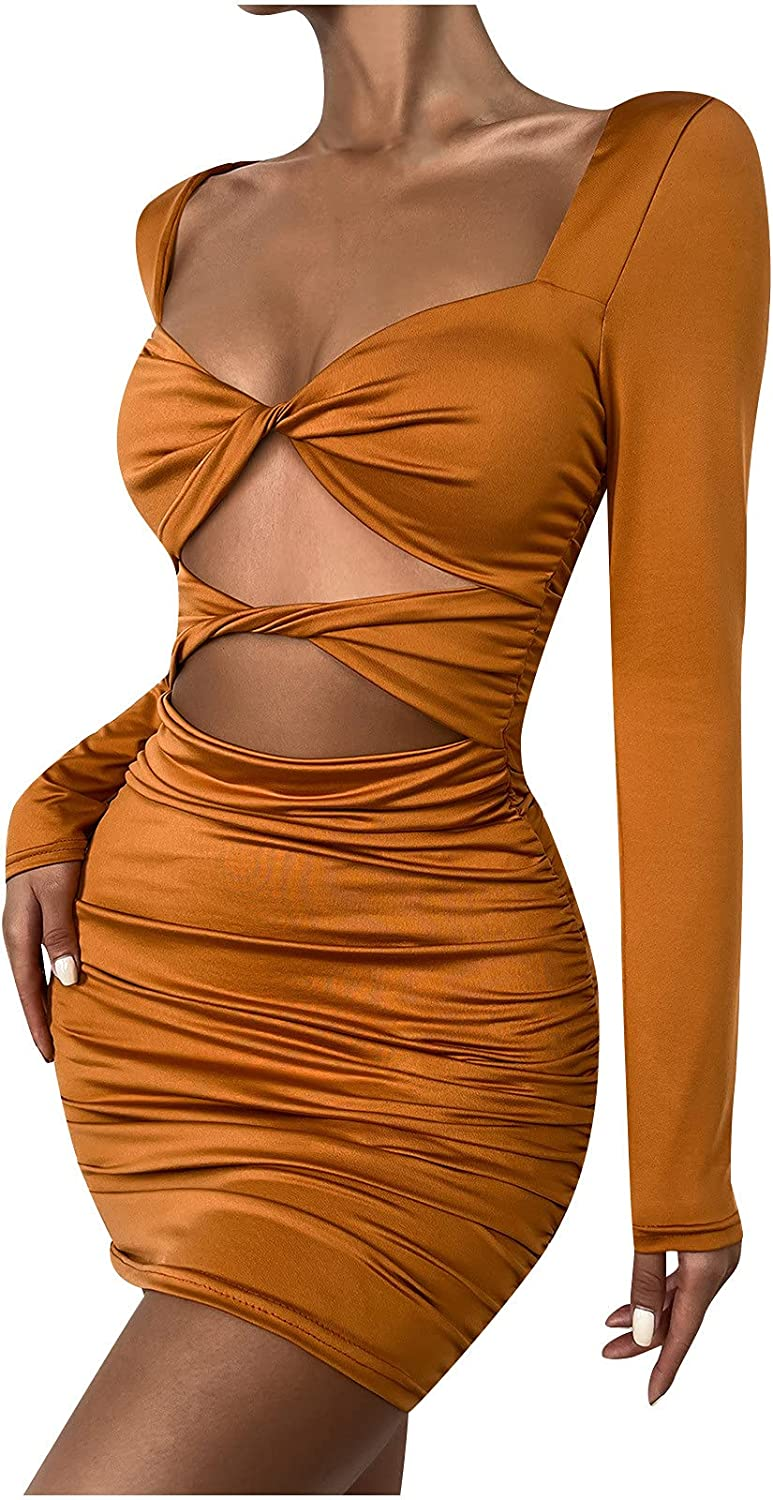 Luobin999 Women Sexy Dresses Knitted Halter Neck,Sexy Fashion Long Sleeve Solid Color Slim Hollowing Party Club Dress(XS,Orange)