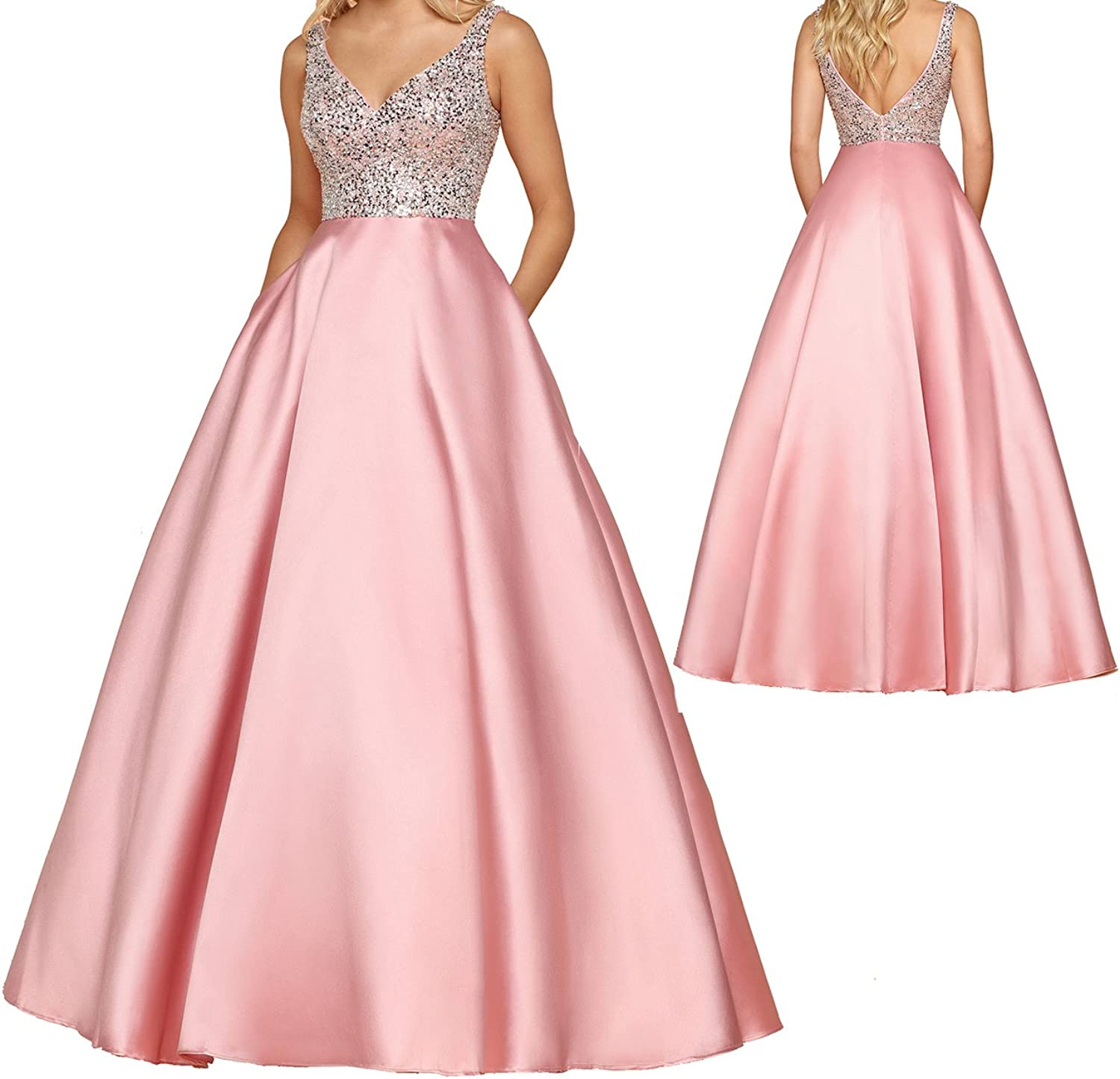 Caterinasara Women Pink Floral Formal Dress Prom Evening for Juniors Wedding Girls Gown