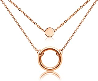 18k Gold Plated Stainless Steel Tiny Round Necklace Open Circle Pendant Adjustable Choker Simple Style