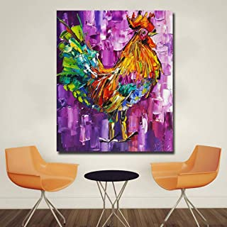 Imprimé Sur Toile,Impression De Toile Peinture Art Mural - Creative Abstract Oil Painting Art Posters - Poulet Animal Impr...