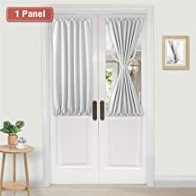 DWCN French Door Curtains – Rod Pocket Thermal Blackout Curtain for Doors with Glass Window, Kitchen and Patio Doors for Privacy, 25 X 40 Inch Length, 1 Curtain Panel with Tieback, White