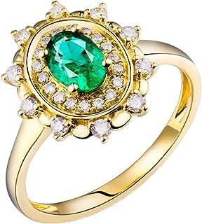 Daesar Anello in Oro Giallo 18 K, Anelli Donna Fidanzamento A Forma di Fiore 0.5ct Smeraldo Ovale con Diamante 0.24ct Anel...