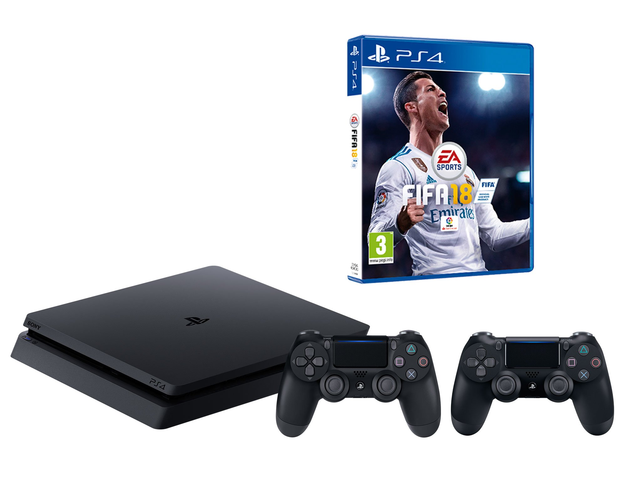PS4 Slim 500 GB negro Playstation 4 – FIFA 18 + 2 mandos DualShock 4: Amazon.es: Informática