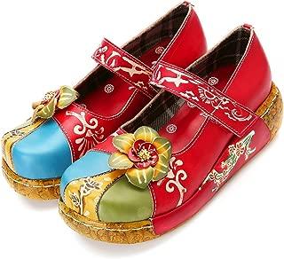 Chic Femme Ballet Chinois Toile à Enfiler Chaussures Plates Mocassins brodé Pompe