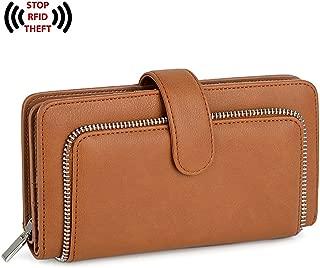 UTO Women PU Leather Wallet RFID Blocking Large Capacity 15 Card Slots Smartphone Holder Snap Closure Brown