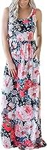 SWQZVT Women's Summer Bohemian Floral Dresses Sleeveless Pockets Racerback Scoop Neck Casual Long Maxi Tank Dress(S-XL)