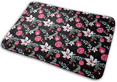 Tropical Plant Flowers and Pomegranates Carpet Non-Slip Welcome Front Doormat Entryway Carpet Washable Outdoor Indoor Mat Room Rug 15.7 X 23.6 inch