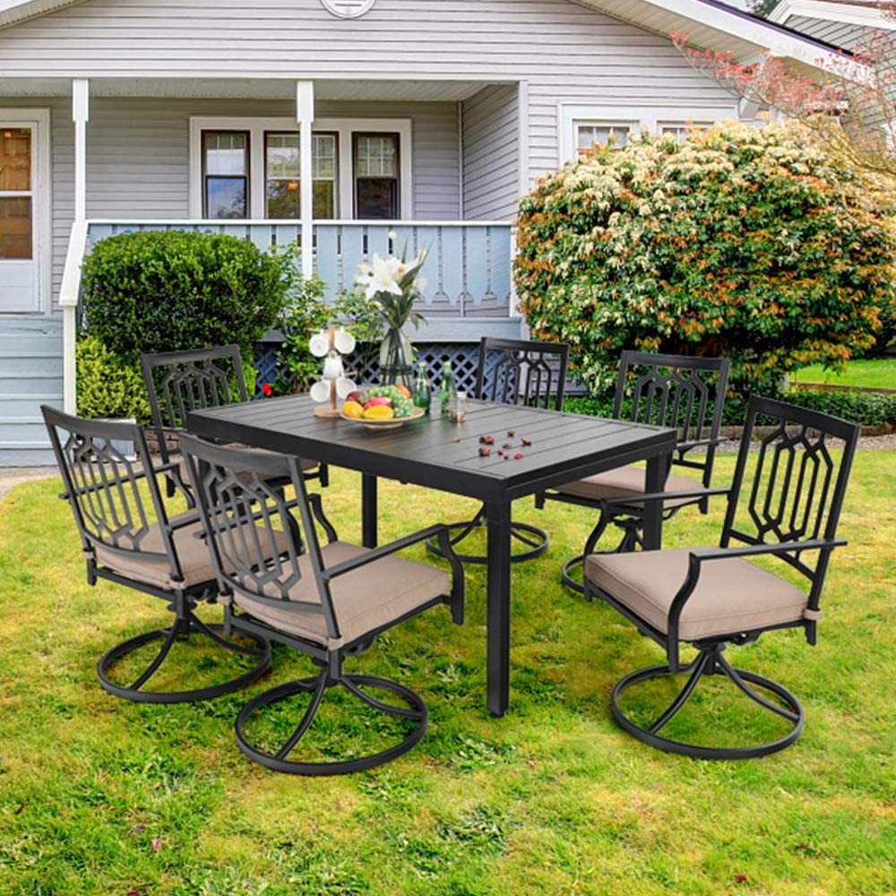 Buy PHI VILLA 9 Piece Patio Dining Set,9 Extendable Dining Table ...