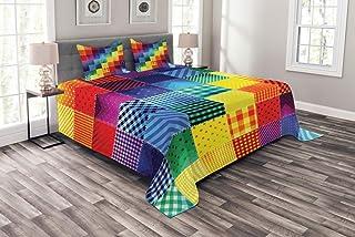 ABAKUHAUS Abstracto Cubrecama, Patrones con Cuadrados Colores del Arcoiris Formas Geométricas Diagonales, Set Decorativo de 3 Piezas Acolchado con 2 Fundas para Almohada, 264 x 220 cm, Multicolor