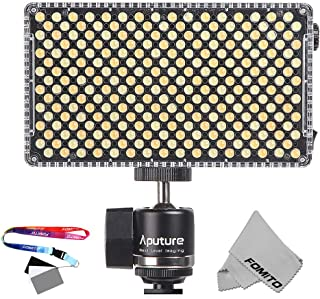Aputure AL-F7 On-Camera Video Light - 3200-9500K Adjustable Brightness & Color Temperature, TLCI/CRI 95+, 256pcs LED Beads with Cold Shoe Mount,Carry Bag and Fomito Gray Card(8.5 x 5.4cm)