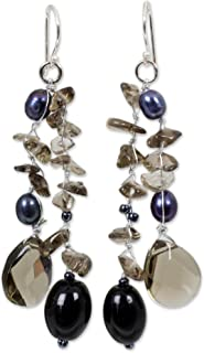 NOVICA Dyed Cultured Freshwater Pearl Glass Bead Dangle Earrings with Sterling Silver Hooks
