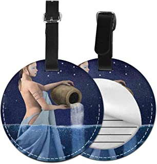 Round Travel Luggage Tags,Aquarius Lady With Pail In The Sea Water Signs Saturn Mystry At Night Stars,Leather Baggage Tag 2 PCS