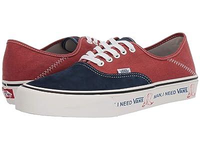 Vans Authentic SF ((Two-Tone Salt Wash) Dress Blues/Burnt Brick) Lace up casual Shoes